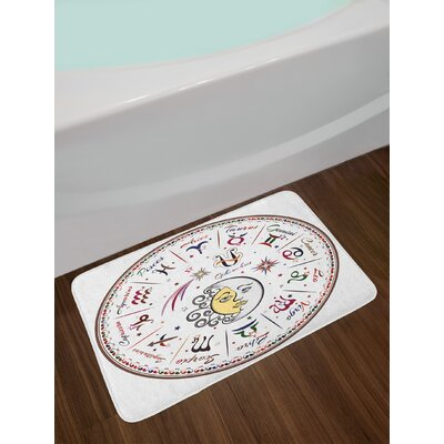 Zodiac Division of Colorful Map Bath Rug