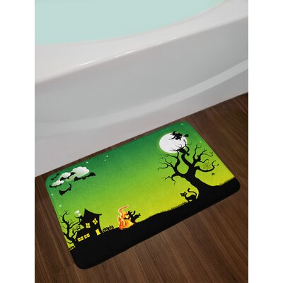 Halloween Witches Dancing with Fire and Flying Bath Rug