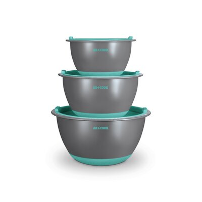 3 Piece Glass Mixing Bowl Set with Lids Color: Blue