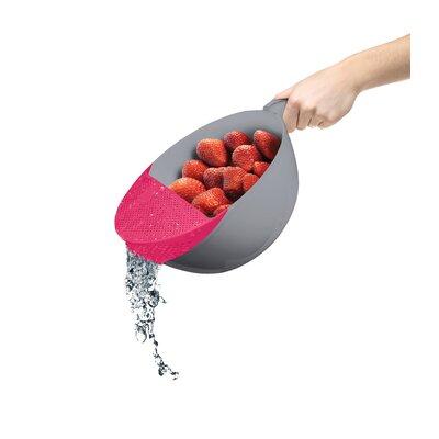 "Plastic Food Strainer Color: Pink, Size: 5"" H x 9"" W x 9"" D"