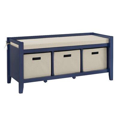 Belen Upholstered Storage Bench Color: Navy