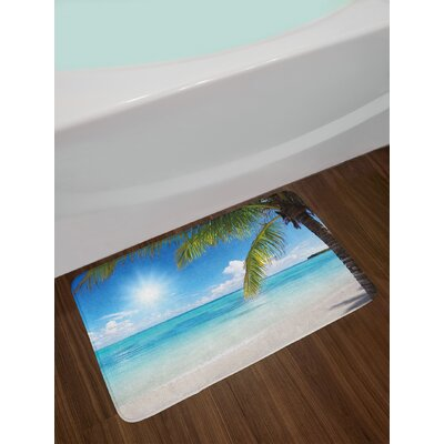 Tropical Sky Blue Fern Green Pearl Summer Bath Rug
