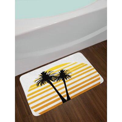 Coconut Apricot Yellow Black Tropical Bath Rug
