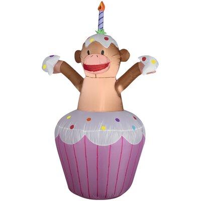 Happy Birthday Cupcake with Monkey Inflatable