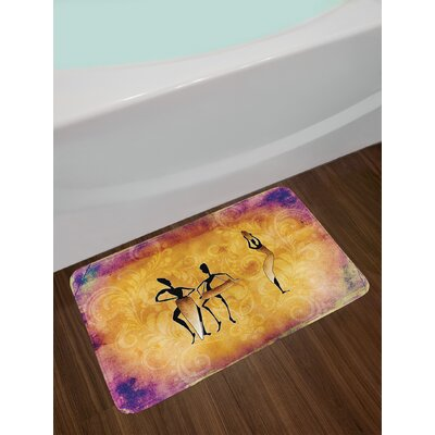 Tan Purple African Bath Rug