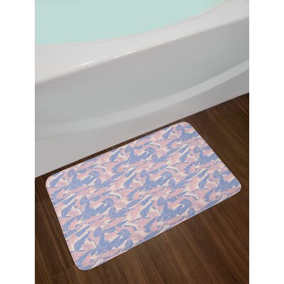 Date Pale Pink Blue Cream Tropical Bath Rug