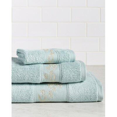 Fountain Premium 600 GSM 3 Piece Turkish Cotton Towel Set Color: Blue/Champagne