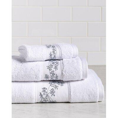 Fountain Premium 600 GSM 3 Piece Turkish Cotton Towel Set Color: White/Silver