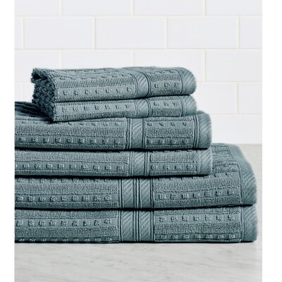 Neve 6 Piece 100% Cotton Towel Set Color: Graphite