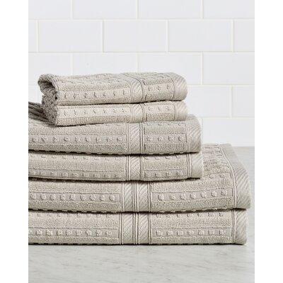 Neve 6 Piece 100% Cotton Towel Set Color: Linen