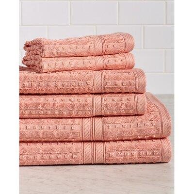 Neve 6 Piece 100% Cotton Towel Set Color: Shell