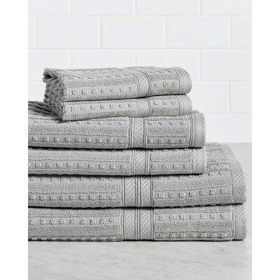 Neve 6 Piece 100% Cotton Towel Set Color: Silver