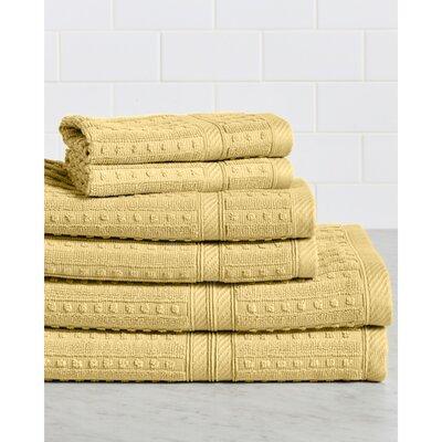 Neve 6 Piece 100% Cotton Towel Set Color: Straw