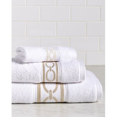 Berkeley Links Premium 600 GSM 3 Piece Turkish Cotton Towel Set Color: White/Champagne