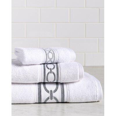 Berkeley Links Premium 600 GSM 3 Piece Turkish Cotton Towel Set Color: White/Silver