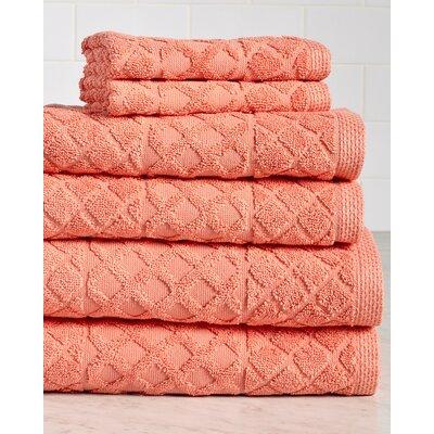 Carroll Premium 630 GSM 6 Piece Terry cloth Towel Set Color: Coral
