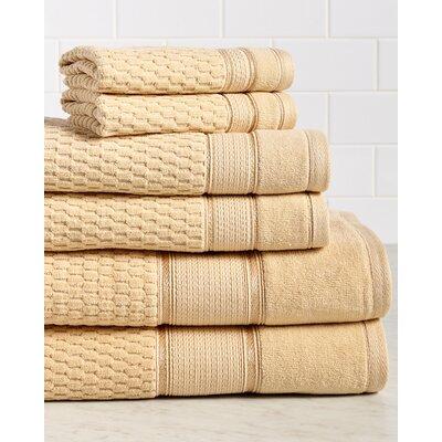 Amethyst Premium 600 GSM 6 Piece Turkish Cotton Towel Set Color: Gold