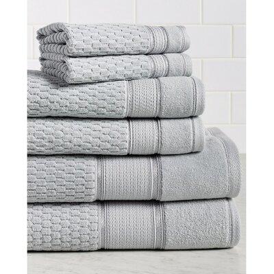 Amethyst Premium 600 GSM 6 Piece Turkish Cotton Towel Set Color: Silver