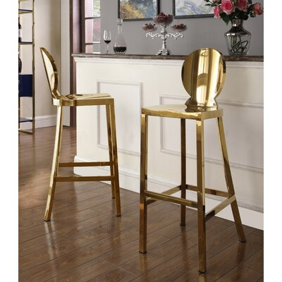 "Boaman 29"" Bar Stool Color: Gold"