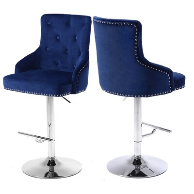 Bocana Adjustable Height Bar Stool Upholstery: Navy