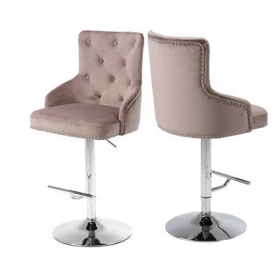 Bocana Adjustable Height Bar Stool Upholstery: Pink