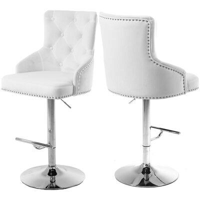 Bocana Adjustable Height Bar Stool Upholstery: White
