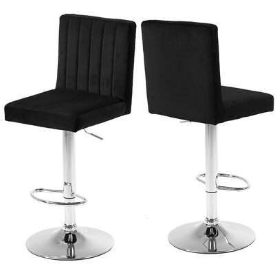 Amaryllis Adjustable Height Bar Stool Upholstery: Black