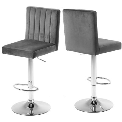 Amaryllis Adjustable Height Bar Stool Upholstery: Gray