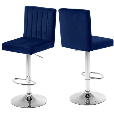 Amaryllis Adjustable Height Bar Stool Upholstery: Navy