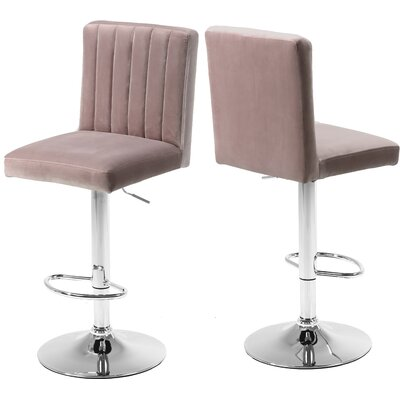 Amaryllis Adjustable Height Bar Stool Upholstery: Pink
