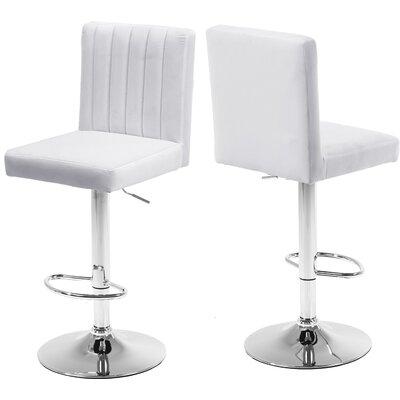 Amaryllis Adjustable Height Bar Stool Upholstery: White