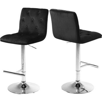 Leia Adjustable Height Bar Stool Upholstery: Black