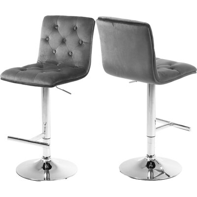 Leia Adjustable Height Bar Stool Upholstery: Gray