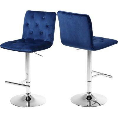 Leia Adjustable Height Bar Stool Upholstery: Navy