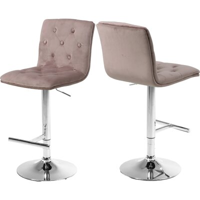 Leia Adjustable Height Bar Stool Upholstery: Pink
