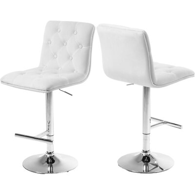 Leia Adjustable Height Bar Stool Upholstery: White
