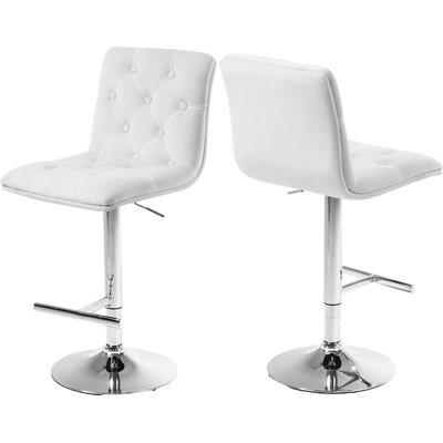 Leia Adjustable Height Bar Stool Upholstery: White