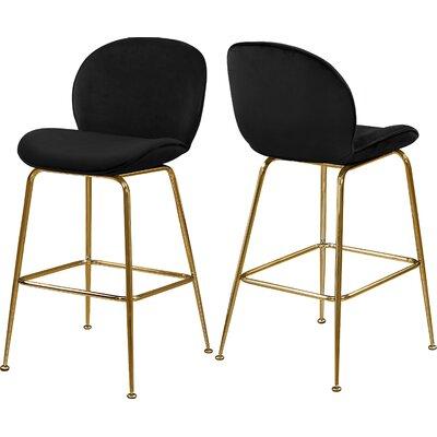 "Bhreatnach 26.5"" Bar Stool Upholstery: Black, Color: Gold"