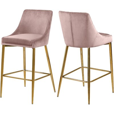 "Paluch 27.5"" Bar Stool Color: Gold, Upholstery: Pink"