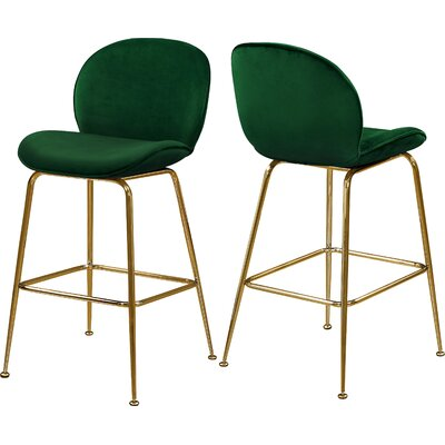 """Bhreatnach 26.5"""" Bar Stool Color: Gold, Upholstery: Green"""