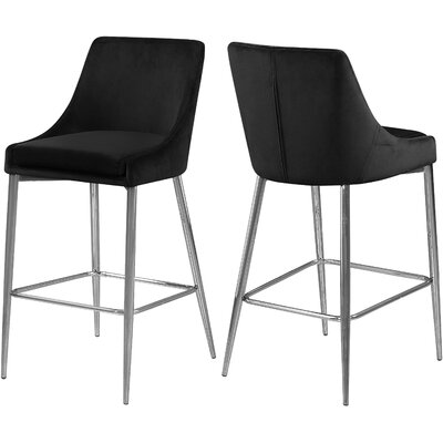 "Paluch 27.5"" Bar Stool Upholstery: Black, Color: Silver"