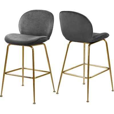 "Bhreatnach 26.5"" Bar Stool Color: Gold, Upholstery: Gray"