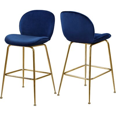 "Bhreatnach 26.5"" Bar Stool Color: Gold, Upholstery: Navy"