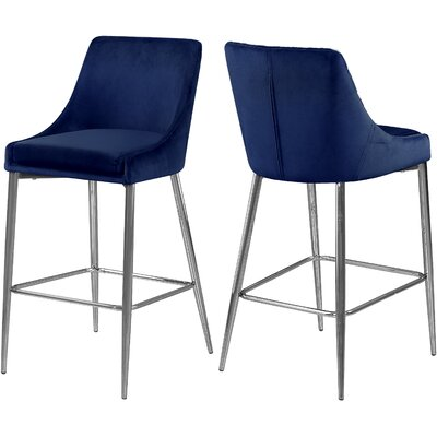 "Paluch 27.5"" Bar Stool Upholstery: Navy, Color: Silver"
