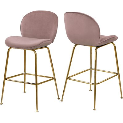 "Bhreatnach 26.5"" Bar Stool Color: Gold, Upholstery: Pink"