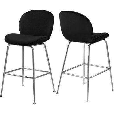 "Bhreatnach 26.5"" Bar Stool Upholstery: Black, Color: Silver"