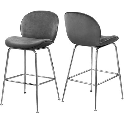 "Bhreatnach 26.5"" Bar Stool Upholstery: Gray, Color: Silver"
