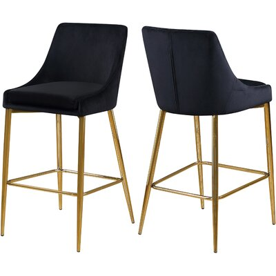 "Paluch 27.5"" Bar Stool Upholstery: Black, Color: Gold"