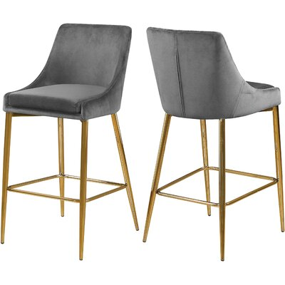 "Paluch 27.5"" Bar Stool Color: Gold, Upholstery: Gray"