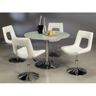 Vezina 5 Piece Dining Set Table Top Color: Frosted, Chair Color: Ivory